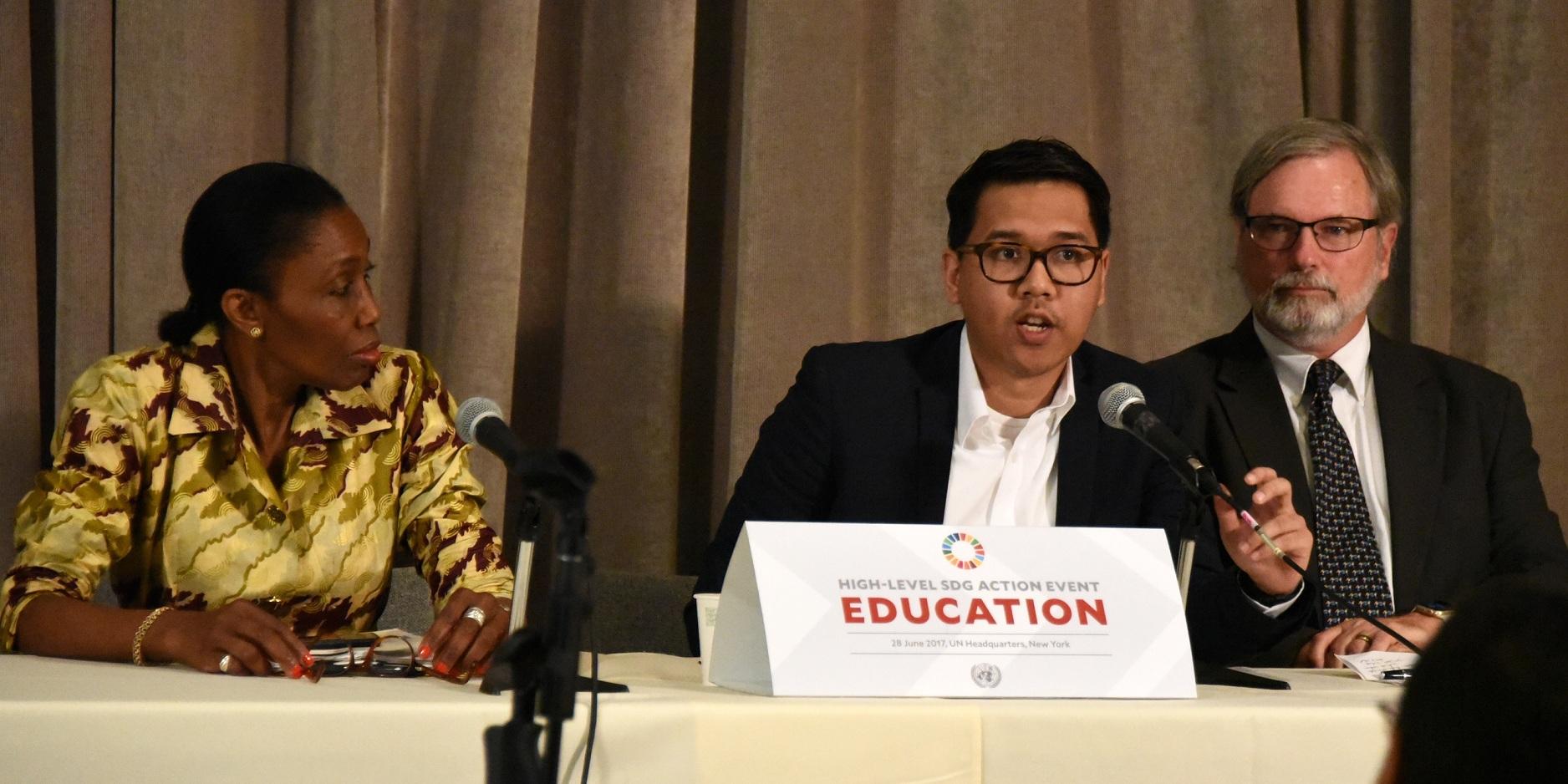 Iman Usman saat berbicara di PBB | Foto: Defina / Ruangguru